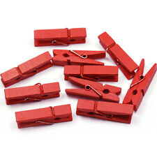 20x Clothes Pins Wooden Clothes Photo Paper Peg Craft Clips 48mm Red Sequins