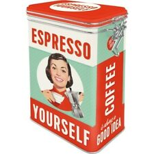 Coffee Espresso Aromadose With Clamp Lock Storage Hoard Box Metal, New