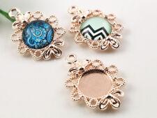 12mm Fancy Pendant Setting   Rose Gold Plated   16pcs