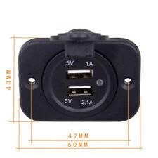 12-24V Car Cigarette Lighter Socket Dual 3.1A USB Charger Power Outlet ABS Black