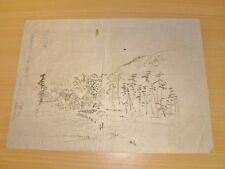 DESSIN ORIGINAL ANCIEN Hameau  Encre de Chine Pelure du JAPON Meiji Circa 1900
