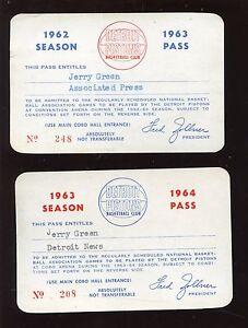 1962/1963 & 1963/1964 Detroit Pistons NBA Basketball Season Passes VGEX