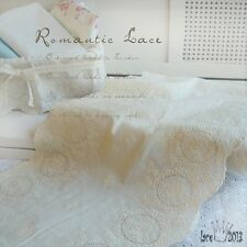 """1Yds Broderie Anglaise eyelet cotton lace trim 14""""(36cm) ivory YH lux laceking"""