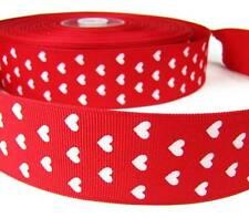 "5 Yards Valentine Mini White Hearts Red Grosgrain Wired Ribbon 1 1/2""W"