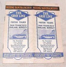 1926 Gray Line Motor Bus Tour Seeing San Francisco Oakland Berkeley Brochure Map