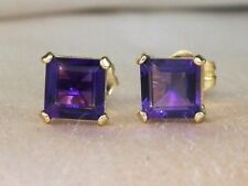 14k Yellow Gold Amethyst-1.50 tcw Solitaire Stud Earrings