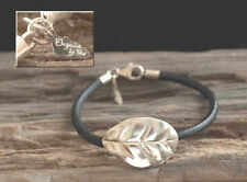 Collector's item TOUS Leaf Bracelet ~ SS with Leather Cord w/ COA  OOP authentic