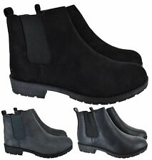 LADIES WOMENS CHELSEA DEALER SLIP ON FLAT ANKLE CAUSAL LOW HEEL SHOES BOOTS SIZE