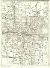 1911 Antique ATLANTA GEORGIA City Map Street Map of Atlanta Georgia 8013
