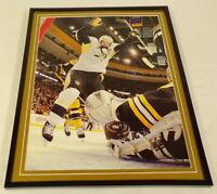 Sidney Crosby Goal Penguins vs Bruins Framed 11x14 Photo Display