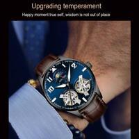 Männer doppeltes Schwungrad Leder Luxus hohle automatische mechanische Uhren