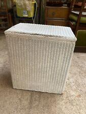 Vintage Lloyd Loom Lusty White Wicker Laundry Basket Bin