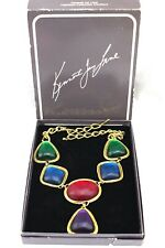 KENNETH JAY LANE AVON Vintage Caprianti Multi Color Cabochon Necklace Boxed