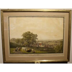 Antique 18th Original View Herisau Engraving paper Painting signed BIEDERMANN