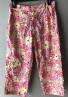 REI Silver Falls Capri Pink Floral Cropped Pants Print Nylon Girls Large 12/14