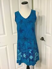 Hi Lites Women's Cute Rayon Hawaiian Shift Dress with Beaded Accents Size S EUC!
