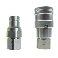 """Quick Connect Coupler Flat Face Hydraulic 3/8"""" Body with 3/8"""" NPT Thread"""