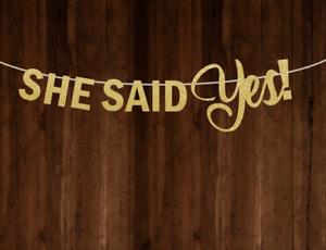 She Said Yes Banner Bridal Shower Bunting Bachelorette Garland Gold Glitter