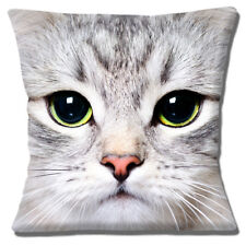 Cat Cushion Cover Face Pale Grey Green Eyes 16 inch 40 cm