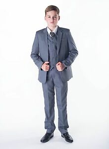 Boys Suits 5 Piece Wedding Suit Prom Page Boy Baby Formal Party 3 Colours