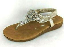 EXTREME by Eddie Marc Women's Zen Rhinestone Thong Sandals - Gold Metallic US 7