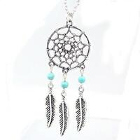 Vogue Girl Long Chain Feather Pendant Dream Catcher Sweater Necklace Jewelry