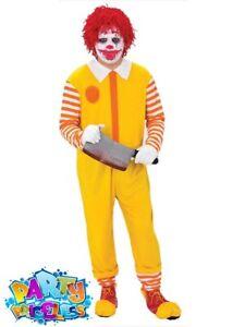 Adults Happy Clown Jumpsuit Ronald Halloween Horror Fancy Dress Outfit