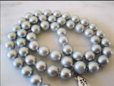 "18"" Gorgeous AAA 9-10mm natural Tahitian gray pearl necklace 14k white gold"