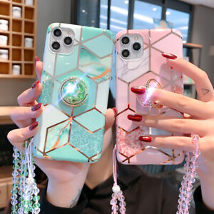 Glitter Bling Diamond Marble Case w/ Ring For iPhone 12 11 Pro Max XS XR 7 8 6