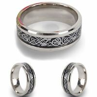 Silver Stainless Steel Celtic New Mens Wedding Ring Womens Band (Sizes J to Z+3)