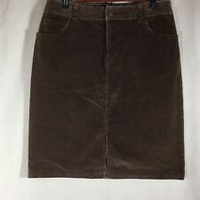 St Johns Bay Womens Skirt Sz 10 Brown Courduroy Stretch Cotton Spandex Slit