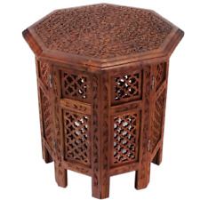 """20"""" Wooden Carved Handmade Crafted Moroccan Indian Oriental Side Coffee Table"""