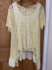 PRETTY RELAXED FIT LACE SUMMER TUNIC TOP WITH CAMI SIZE 18-20 EX CONDITION