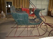 Antique Horse Drawn Green Portland Cutter Sleigh with Shafts