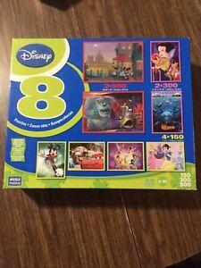 COMPLETE 8 Pack puzzles 150, 300, 500 pieces DISNEY Mega Puzzles