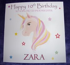 Personalised Unicorn Girls Birthday Card Niece God Daughter 1st 2nd 3rd 4th 5th