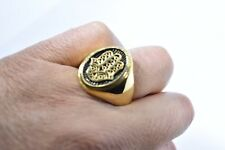 Vintage Golden Stainless Steel Size 12 Men's Hand of God Good Luck Amulet Ring