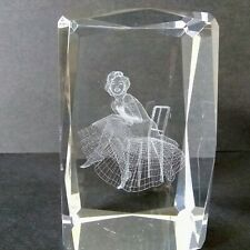 Marilyn Monroe Glass Paperweight Ballerina Sitting Etched Glass Display