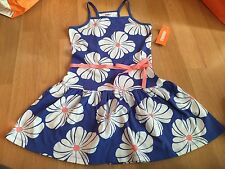 NWT Gymboree Hop N Roll Blue Knit White Flower Dress Size 6