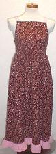 Vintage 80s Pinafore Brown Jumper Dress Flower Pink Straps Ruffle TieBelt Cotton