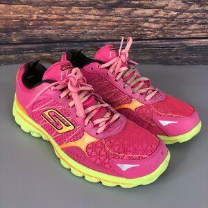 SKETCHERS Go Walk Flash Women's Pink Neon Green Running Trainers Shoes UK 5.5
