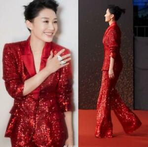 Red Sequins Bling Bling Formal Suits Women Party Grown Prom 2 Piece Suit Tuxedos