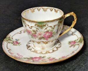 GDA Haviland Limoges Cup Saucer~Roses~Embossed Gold Trim~Vintage French Antique