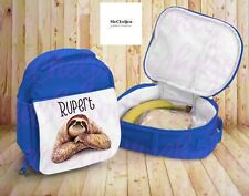Sloth Lunchbox, Personalised Kids Lunchbag, Insulated Bag, Pink And Blue