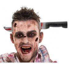 Bloody Horror Zombie Knife Through Head Prop Halloween Fancy Dress Costume