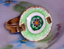 #673E Vintage Ring Guilloche Enameled Enamel Rose Handpainted Floral 7.5