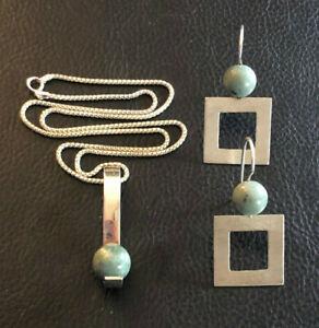 Sterling Silver Necklace Earrings Set Green Jade Modern Artisan Signed 14g #1363