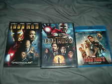 Iron Man 1 2 3 BLU-RAY DVD LOT SET