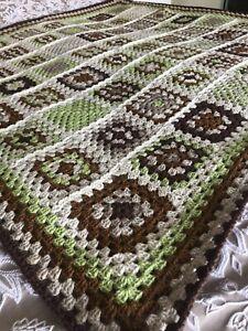 CROCHET Handmade Granny Blanket,Throw, Lapghan Brown, Beiges, Mocha, Green.Gift