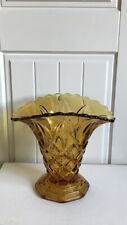 Large Heavy Art Deco Footed Amber Cut Glass Vase, Wide Scalloped Rim